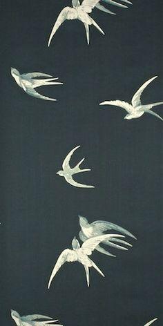 Sanderson Behang Swallows Black Uit De Vintage Behangpapier Collectie - Luxury By Nature