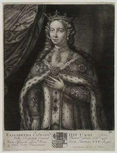 Rare portrait of Elizabeth Woodville by John Faber Sr, mezzotint, circa 1700-1725.