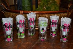 Shot glass - 21st Birthday  30th 40th 50th  personalized with vinyl 2 sided. $6.50, via Etsy.