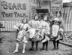 """Young performers with Hanneford's Canadian Circus, Strabane, Northern Ireland (c.1910). Photo by H.F. Cooper. But how about the """"Bears that Talk?"""""""