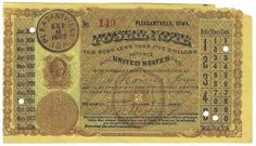 Pleasantville, IA 1883 Postal Note #149 Issued for 2 cents; payable at Des Moines, IA