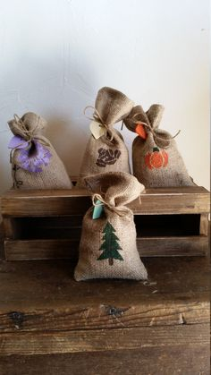 Rustic hand sewn and hand painted burlap by RustyBarrelCreations