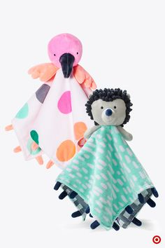 Surround your baby with friendly faces. Oh Joy! Security Blankets are irresistibly cute and come in handy for cuddling a wriggling body or wiping a wet face. Choose the fun flamingo or hedgehog cutie. By the way, these make adorable shower gifts.