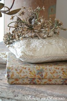 French antique orange blossom bridal tiara, ring bearer's pillow and old box