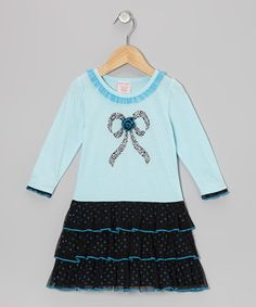 Take a look at this Blue Bow Tiered Dress - Toddler & Girls by S.W.A.K. on #zulily today!