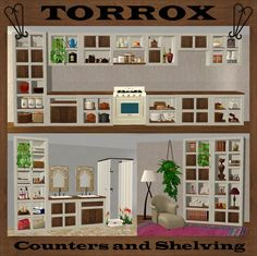Mod The Sims - Torrox Spanish/Southwestern Buy Collection – Counters and Shelving