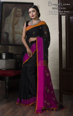 Linen Jamdani Saree Available For Sale from Bengal Looms
