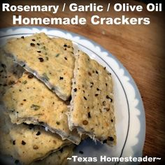 With a huge, gorgeous rosemary plant right outside my door, I decided to try my hand at making homemade rosemary crackers. I love the taste of rosemary & garlic so this recipe was perfectly delicious! Real Food Recipes, Snack Recipes, Snacks, Simple Recipes, Bread Recipes, Healthy Recipes, Rosemary Crackers Recipe, Fried Chips, Food Sculpture