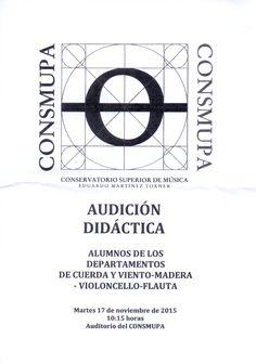 AUDICIÓN DIDÁCTICA. Alumnos de los departamentos de cuerda y viento-madera-violoncello-flauta. CONSMUPA.