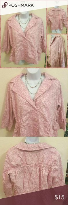 ??Pink cheetah blazer by Joan Rivers 1X Plus ?? Adorable 3/4 sleeve blazer in light pink with cheetah print by Joan Rivers in size 1X. Ruching adds extra style and a flattering fit to this piece! Excellent condition. Joan Rivers  Jackets & Coats Blazers