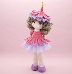 Amigurumi crochet DOLL Sweet Fuchsia flower doll with