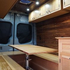 Van Conversions by Brawley Made and Vantage Point Custom vans, designing and building out custom cabinetry for these one-of-a-kind Sprinter van conversions. Sprinter Van Conversion, Custom Vans, Custom Cabinetry, Conversation, Woodworking, Campers, Building, Design, Custom Closets