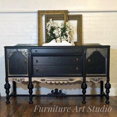 Gorgeously Detailed Buffet in Lamp Black | General Finishes Design Center