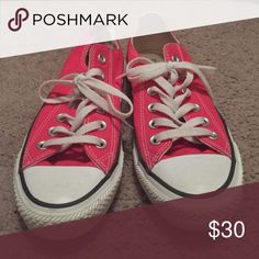 Pink converses Not worn once, in great condition. Make offers! I accept most :) Converse Shoes Sneakers