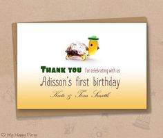 """First birthday Thank you card, turtle thank you card, turtle birthday party, toddler birthday  - PRINTABLE, 4""""x6"""""""