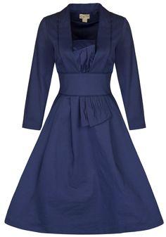 Lindy Bop 'Reiko' Classy Vintage 1950's Long Sleeved Kimono Style Dress (S, Blue)