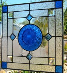 Vintage Blue Plate Stained Glass Window with Blue Bevels - Vintage Blue Plate Stained Glass Window with Blue Bevels - Stained Glass Tattoo, Stained Glass Cookies, Stained Glass Door, Stained Glass Ornaments, Stained Glass Birds, Stained Glass Christmas, Stained Glass Designs, Stained Glass Panels, Stained Glass Projects
