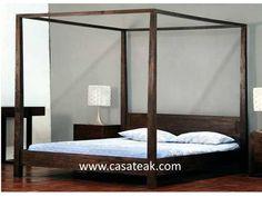 Four Poster Bed, Teak Wood Bed Frame, Poster Bed Shahalam Malaysia Bedroom Furniture Stores, Teak Furniture, Four Poster Bed Frame, King Bed Frame, Bedroom Size, Commercial Furniture, Wood Beds, How To Make Bed, Teak Wood