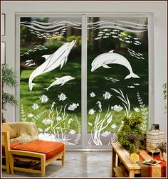 Dolphin Cove 2 panel etched glass film from Wallpaper For Windows. Available in See-Thru or Privacy. Single panels available as well Etched Glass, Glass Etching, Glass Storm Doors, Diy Vinyl Projects, Pooja Room Door Design, Glass Painting Designs, Window Films, Most Beautiful Wallpaper, Great Backgrounds