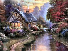 Cottage Evening ~ Thomas Kinkade