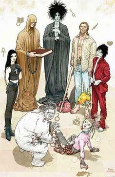 The Endless (clockwise, from left): Death, Destiny, Dream, Destruction, Desire, Delirium, and Despair