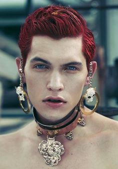 Hot guy body jewelry red hair