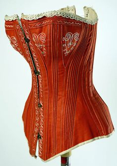 Red cotton corset 1880 | myLusciousLife.com  It's cotton!