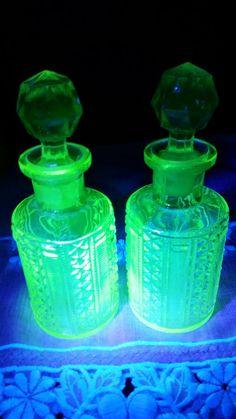 Art Deco Uranium Vaseline Glass Perfume Bottles -Medium $90