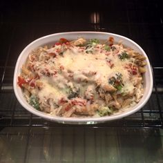 Chicken Broccoli Penne Bake! (Mock Fazoli's)  I made this for Steven and I tonight after originally planning to make chicken parm and realizing we still only had wheat spaghetti from our diet.   Need: 3 chicken breasts (I breaded mine)  Broccoli, Mushrooms, Penne pasta, Mozzarella, your choice of sauce and an appetite!