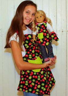 Girls Apron and American Girl Doll Matching Set by BlueStarVermont, $44.00