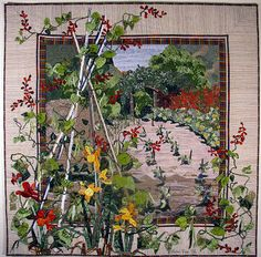 Scarlet Runner ~ I love how the scene is framed,  then another vignette is superimposed over edging,  frame & picture! #quilts #landscapequilts #garden