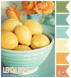 Lemon Bowl Color Palette- Inspire Sweetness  http://inspiresweetness.blogspot.com/2013/10/lemon-bowl-color-palette.html
