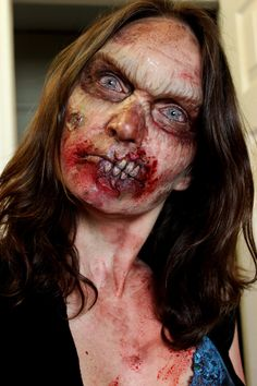 Great prostetic to give the effect of rotting flesh, blood round the mouth to give the impression she has been eating flesh.