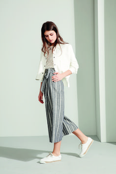 Pantalón culotte cruzado con lazada y estampado de rayas. Ref:7607598