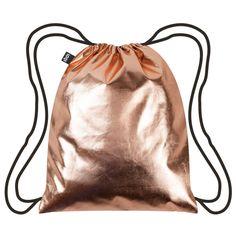 Rose Gold Metallic Backpack (£12) ❤ liked on Polyvore featuring bags, backpacks, metallic backpack, draw string bag, water resistant bag, drawstring backpack bag and drawstring backpacks