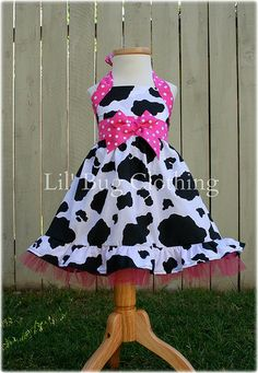 Custom Boutique Country Cowgirl Cow Pink Dots Western Jumper Dress Halter Style on Etsy, $45.00