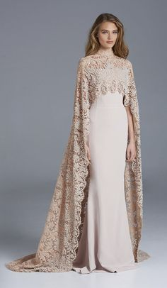 Gorgeous Paolo Sebastian 2016 Mermaid Wedding Dresses with Beaded Lace Cape Muslim Wedding Bridal Gowns Sweep Train Evening Dresses, Prom Dresses, Formal Dresses, Dresses With Capes, Beaded Dresses, Dresses 2016, Summer Dresses, Long Dresses, Summer Outfits