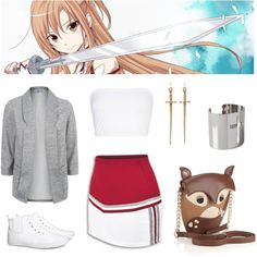"""Yuuki Asuna (Sword Art Online)"" by cherrykitesmagazine on Polyvore (loved this anime!!)"