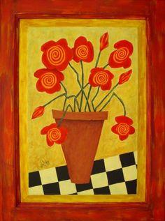 Large 16 x 21 Folk Art Flower Painting on Wood Cupboard Door John Blake, Coming Up Roses, Decoupage, Wood Doors, Wood Paneling, Painting On Wood, Wood Art, Stencils, Folk