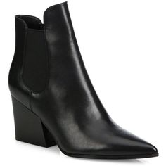 Kendall + Kylie Finley Leather Point-Toe Block-Heel Booties (257 CAD) ❤ liked on Polyvore featuring shoes, boots, ankle booties, apparel & accessories, black, faux leather boots, chunky booties, black pointed toe booties, black booties and black leather boots
