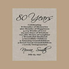 A wonderful gift to celebrate that special 80 year old! **** PDF Digital PRINT*** NO FRAME INCLUDED This listing is for a 8x10 PDF & JPEG Digital File. Looks great in a white or black frame. Print at home or a local copy store such as Staples, Costco or Kinkos. This always you to