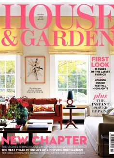 Beaumont & Fletcher are featured in this October 2016 edition of House & Garden. London Design Festival, New Chapter, October, Home And Garden, House Design, Table Decorations, Fabric, Tejido, Tela