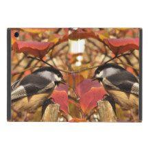 Nature Autumn Foliage with Chickadee Birds Cover For iPad Mini