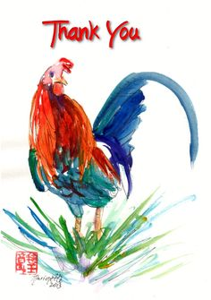 Printable DIY Thank You card 5x7 pdf Kauai Rooster by kauaiartist