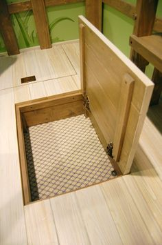 Trap Door for Under Floor Storage - Tiny House Secret Storage, Gun Storage, Hidden Storage, Extra Storage, Door Storage, Storage Ideas, Hidden Spaces, Hidden Rooms, Hidden Compartments