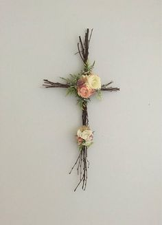 Woodland Nursery Cross, Christian Cross, Twig Cross, Easter Cross, Rustic Cross, Nursery Cross, Christian Baby Decor, Woodland Nursery, Easter Decor This beautiful, rustic twig cross is accented with hand-assembled, high-quality, faux flowers. We will custom match it to any color