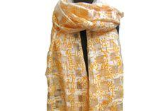 White scarf/ tribal print scarf/ hand loom scarf/ organza silk scarf/  block print  scarf/ orange scarf/ gift scarf / gift ideas. by vibrantscarves on Etsy