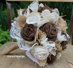 Burlap and Lace Bride's Bouquets and Boutonnieres Custom Wedding Arrangements with Fabric Flowers. $75.00, via Etsy.