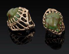 Artist: Charles Loloma, Title: 14K Gold Lost Wax Cast Ring With Green Turquoise