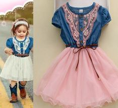Pretty denim western style dress outfit for infant little cowgirls. This is perfect as gift, birthday party, birthday theme,wedding in the barn outfit,casual,and other occasions. Very perfect matching with a tiny little boots with a cowgirl hat...